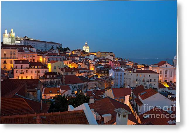 Lisbon City Lights Panoramic Alfama View Greeting Card by Kiril Stanchev