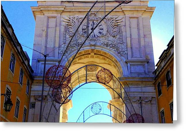 Lisbon Clock Gate Greeting Card by Noa Yerushalmi