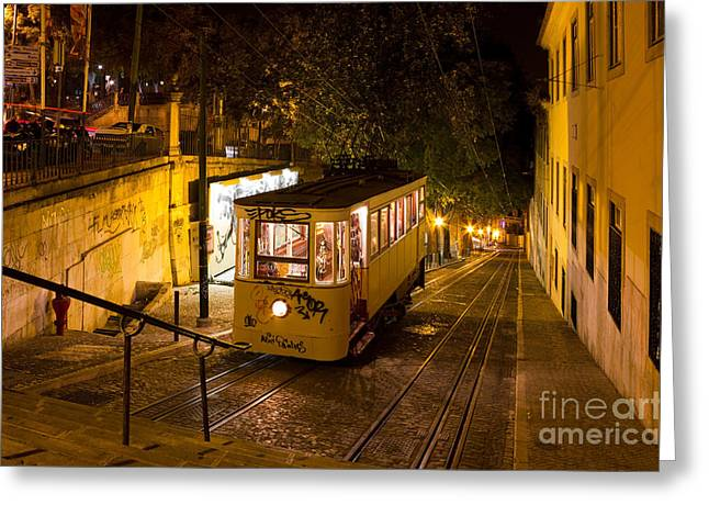 Lisbon Gloria Funicular Night Shot Greeting Card by Kiril Stanchev