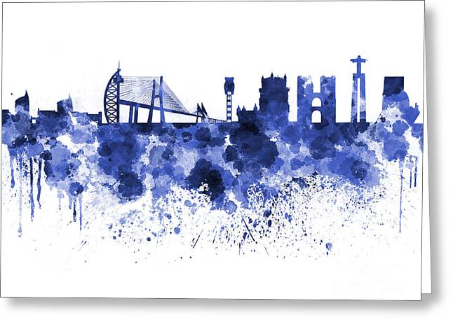 Lisbon Skyline In Blue Watercolor On White Background Greeting Card by Pablo Romero