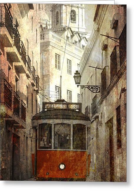 Lisbon Streetcar Greeting Card by Daniel Hagerman
