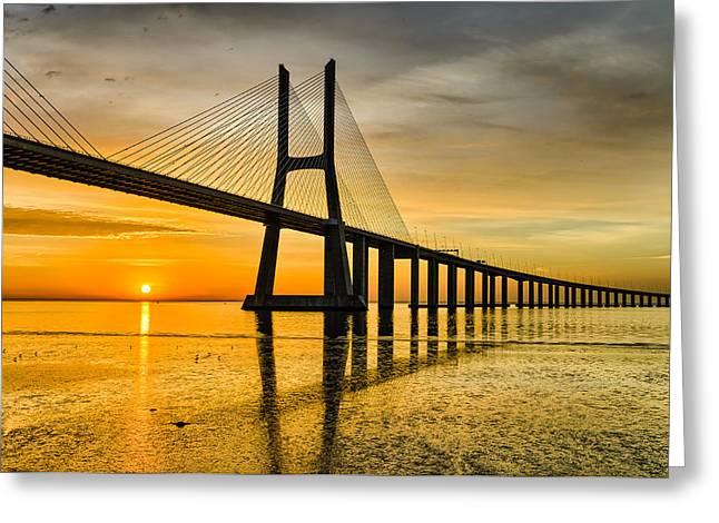 Lisbon Sunrise Greeting Card by Michael Abid