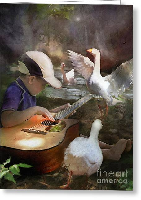 Listen To The Music Greeting Card by Adelita Rog