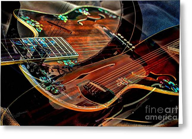 Listen To The Music Digital Guitar Art By Steven Langston Greeting Card by Steven Lebron Langston