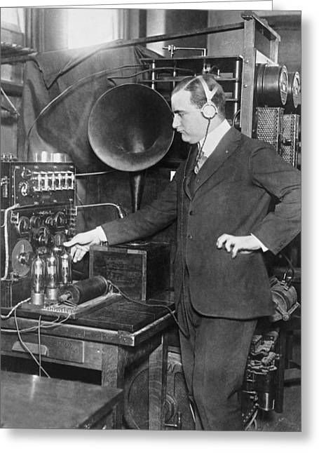 Listening In To Wireless Greeting Card by Underwood Archives