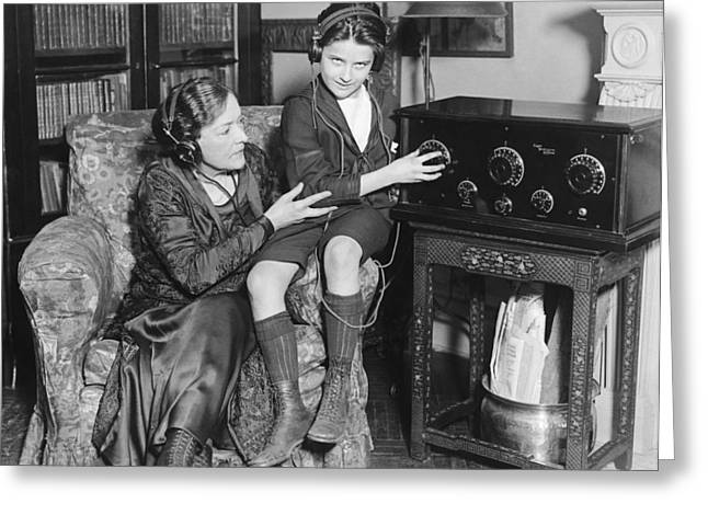 Listening To Radio Show Greeting Card by Underwood Archives