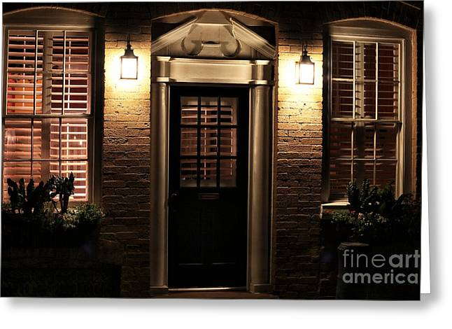 Lit Doorway Greeting Card by John Rizzuto