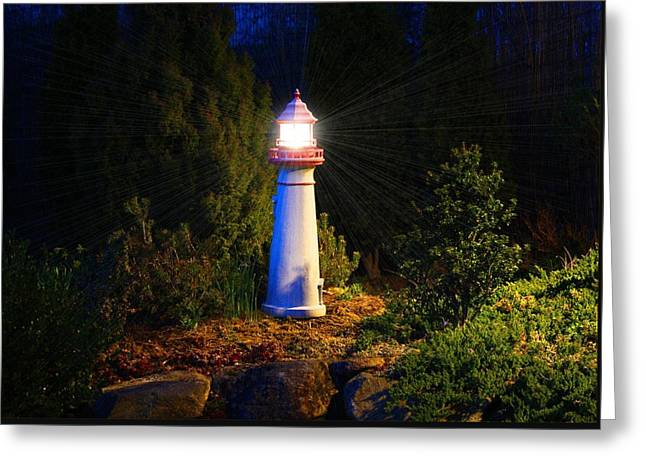 Lit-up Lighthouse Greeting Card by Kathryn Meyer