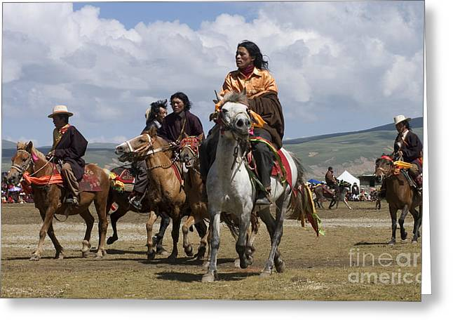 Litang Horseman - Kham Tibet Greeting Card by Craig Lovell
