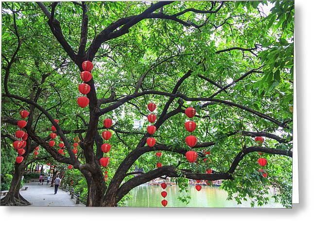 Litchi Bay Walkway And Park, Guangzhou Greeting Card by Stuart Westmorland