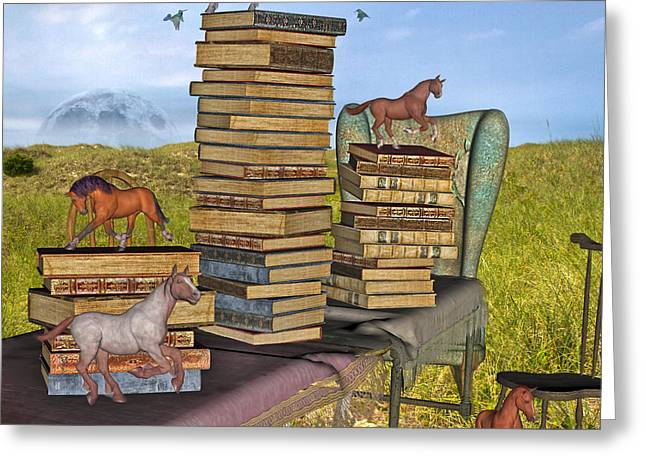 Literary Levels Greeting Card by Betsy Knapp