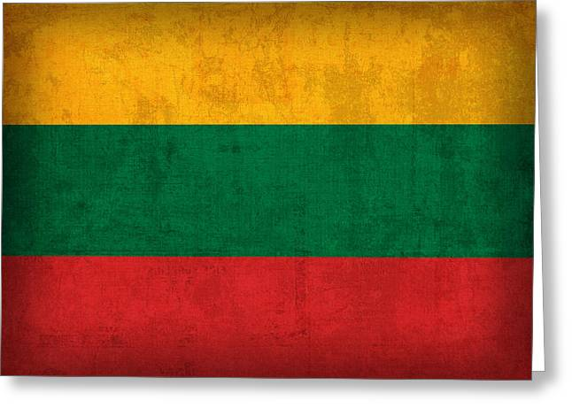Lithuania Flag Vintage Distressed Finish Greeting Card by Design Turnpike
