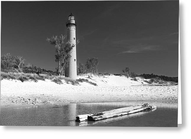 Greeting Card featuring the photograph Litle Sable Light Station - Film Scan by Larry Carr