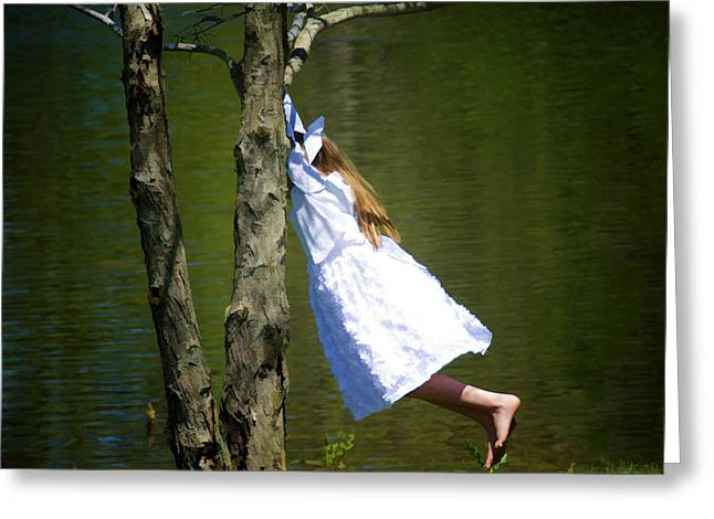 Litte Girl Swinging In White Dress Greeting Card by Donna Doherty