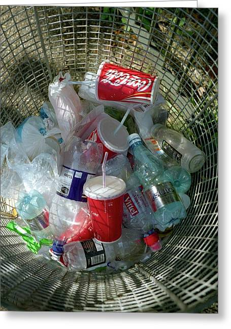 Litter Bin Greeting Card by Robert Brook/science Photo Library