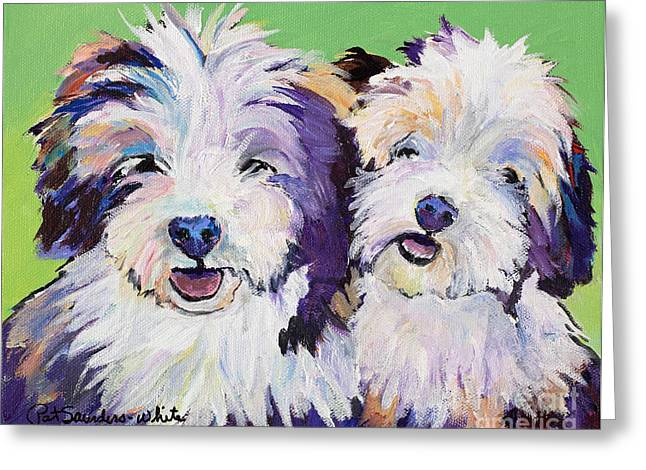 Litter Mates Greeting Card by Pat Saunders-White