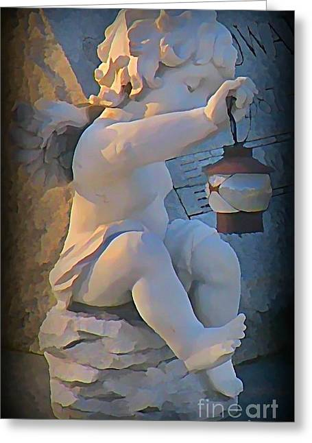 Little Angel With Lantern Greeting Card by John Malone
