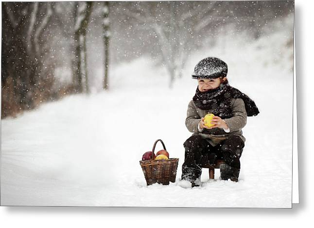 Little Apple Seller Greeting Card