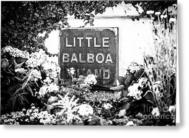Little Balboa Island Sign Black And White Picture Greeting Card by Paul Velgos