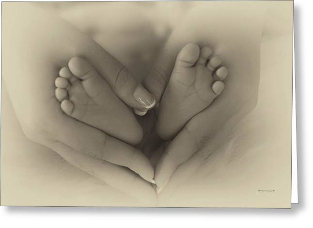 Little Bambino Toes Surrounded By Love Greeting Card by Thomas Woolworth