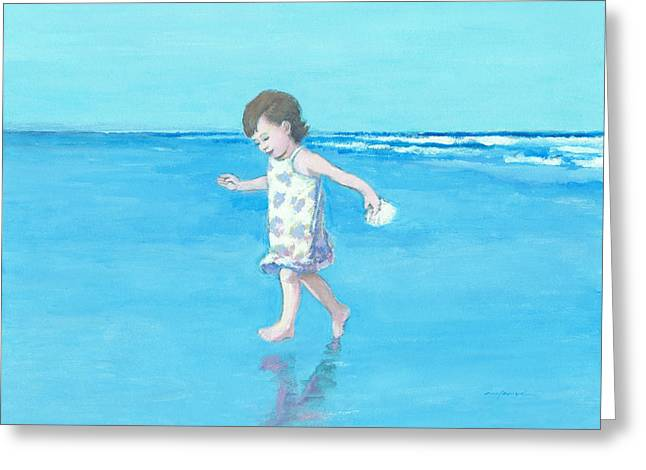 Little Beach Girl Greeting Card by J Reifsnyder