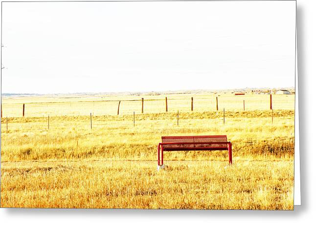 Little Bench On The Prairie Greeting Card by Lenore Senior