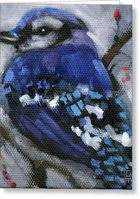 Sold Little Bird Come Sit Upon My Window Sill Greeting Card by Nancy  Parsons