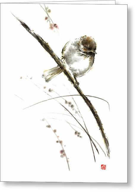 Little Bird On Branch Watercolor Original Ink Painting Artwork Greeting Card