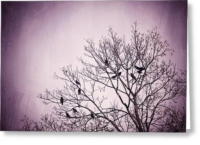 Little Birds Of The Night Greeting Card by Carolyn Cochrane