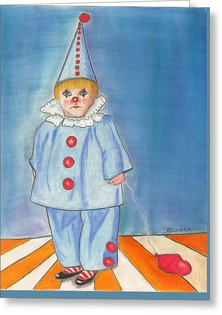 Little Blue Clown Greeting Card