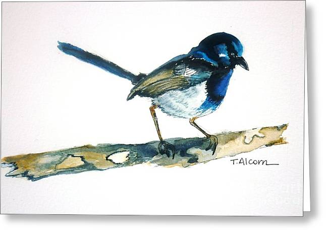Greeting Card featuring the painting Little Blue Wren - Original Sold by Therese Alcorn