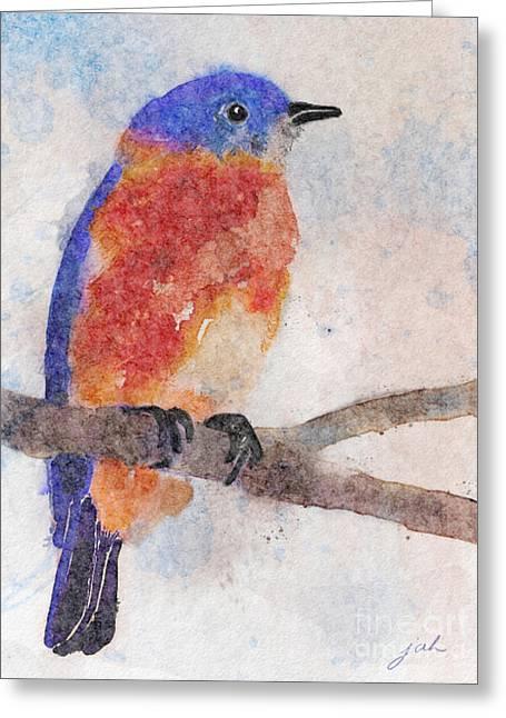 Little Bluebird Greeting Card by Joan A Hamilton