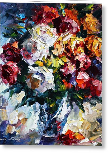Little Bouquet Greeting Card by Leonid Afremov