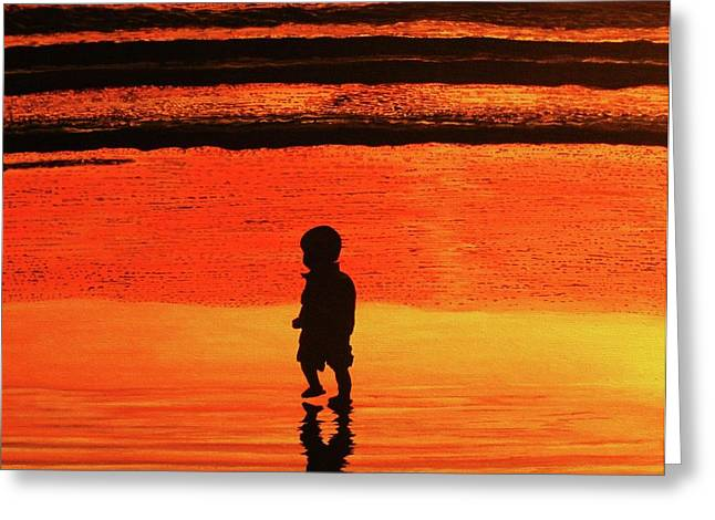 Little Boy At The Beach Greeting Card