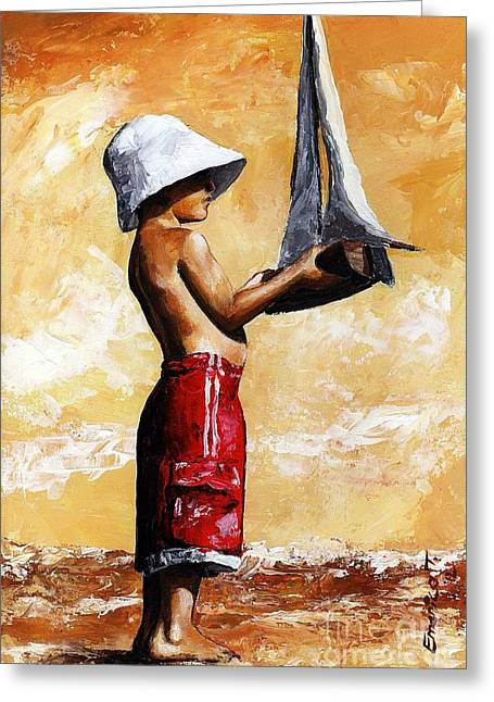 Little Boy Greeting Cards - Little boy in the beach Greeting Card by Emerico Imre Toth