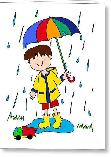 Little Boy With Umbrella Greeting Card by Sylvie Bouchard