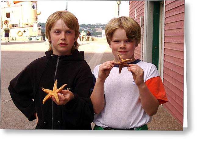 Little Boys At Halifax Harbour Greeting Card by Brenda Anne Foskett