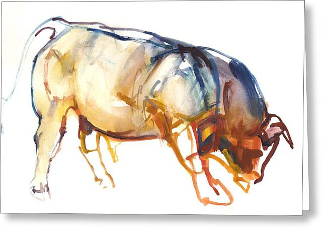 Little Bull, 2010, Watercolour And Gouache On Paper Greeting Card by Mark Adlington