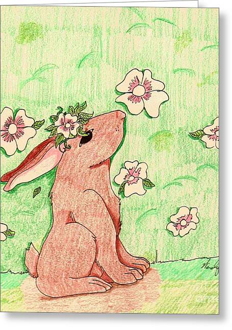 Little Bunny Big Dreams Greeting Card by Wendy Coulson