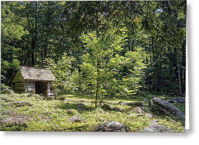 Little Cabin In The Woods Greeting Card by Cricket Hackmann