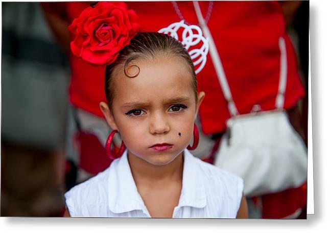 Little Carmen. Romeria Celebration In Torremolinos. Spain Greeting Card by Jenny Rainbow