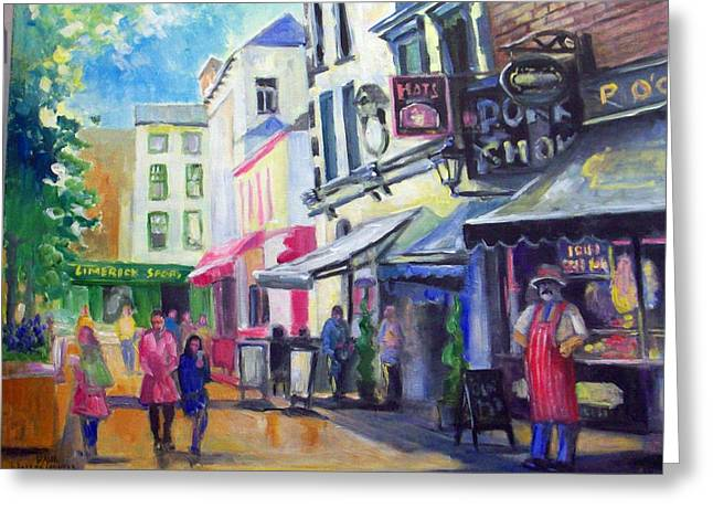 Greeting Card featuring the painting Little Catherine St Limerick Ireland by Paul Weerasekera