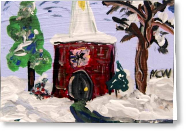 Greeting Card featuring the painting Little Chapel In The Snow by Mary Carol Williams