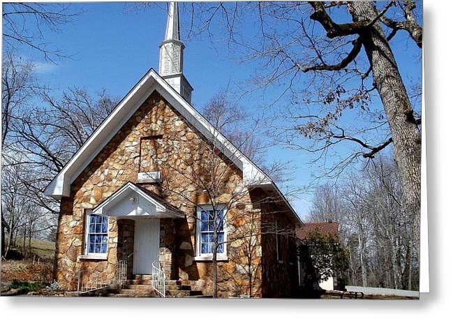 Little Church Greeting Card by Glenda Barrett
