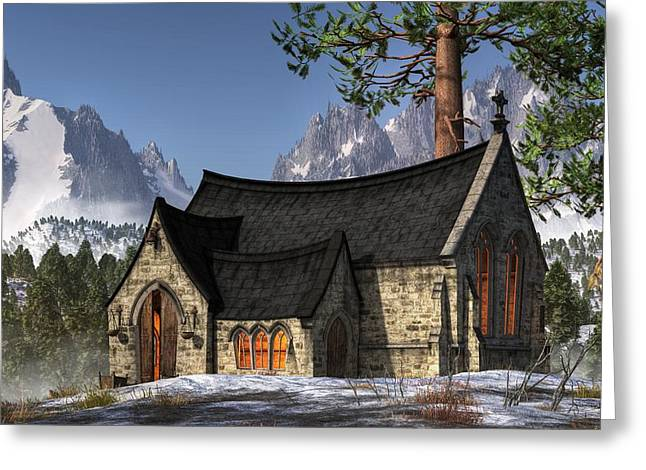 Little Church In The Snow Greeting Card by Christian Art
