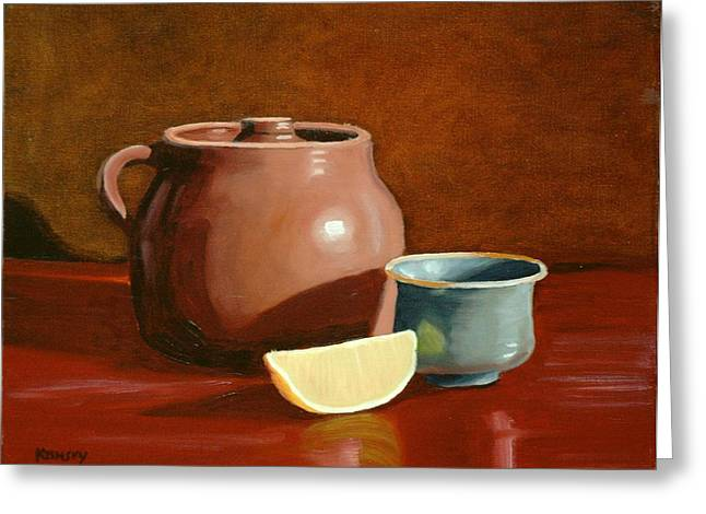 Little Clay Pots And Lemon Greeting Card by Daniel Kansky