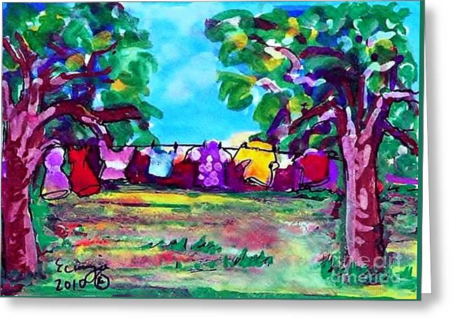 Greeting Card featuring the painting Little Clothing Line by Ecinja Art Works