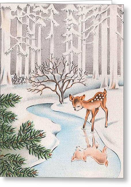 Little Deer Greeting Card by Munir Alawi
