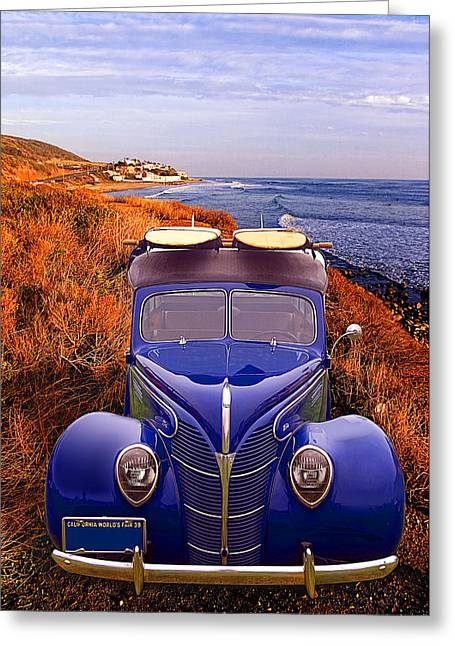 Little Deuce Coupe At The Beach Greeting Card by Ron Regalado