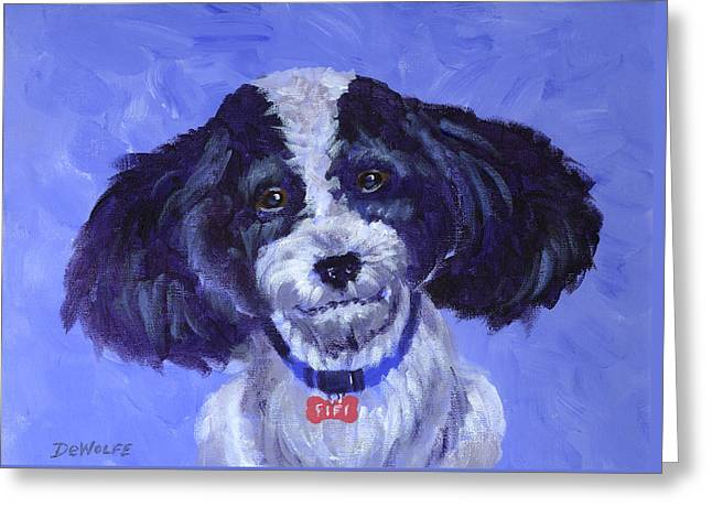 Little Dog Blue Greeting Card